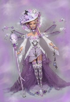 Barbie Victorian Fairy Queen Cameo Doll Lilac Hat Altered Custom OOAK * PASSION