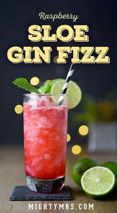 Raspberry Sloe Gin Fizz - This colorful craft cocktail is made using fresh muddl. - Drink and Beverage Recipes - Cocktail Craft Cocktails, Summer Cocktails, Party Drinks, Gin Fizz Cocktail, Cocktail Drinks, Cocktail Recipes, Cocktail Ideas, Alcoholic Drinks Gin, Sloe Gin Cocktails