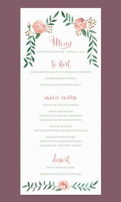 Rose Wedding Menu Card with Hand-painted Watercolor Flower Border by Leveret Paperie