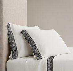 Milou Embroidered Linen Sheet Set