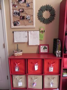 Love this landing area and how she organizes for her daycare kiddos!