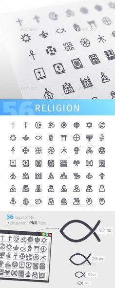 Religion Line Icons Set — Vector EPS #christianity #illustration • Download ➝ https://graphicriver.net/item/religion-line-icons-set/19502214?ref=pxcr