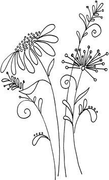 Embroidery Flower Patterns Whimsical flower pattern from a Penny Black stamp - Idea - get pattern similar…… More - Embroidery Designs, Crewel Embroidery, Hand Embroidery Patterns, Embroidery Kits, Embroidery Tattoo, Simple Embroidery, Vintage Embroidery, Geometric Embroidery, Flower Embroidery