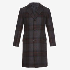 Brioni cashmere coat with a grey, burgundy and black check