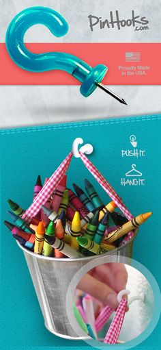 Pinhooks are push pins with a hook on the end. What a great idea! Bulletin boards can now be storage space too!