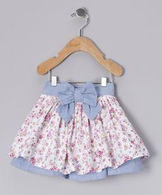 Blue Floral Bow Skirt - Infant