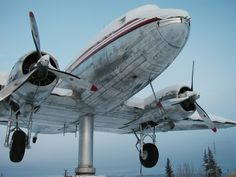 The Douglas DC-3 that now serves as a weather vane at Yukon Transportation Museum located beside the Whitehorse International Airport