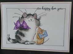 Penny Black kitty cat critter & mouse card