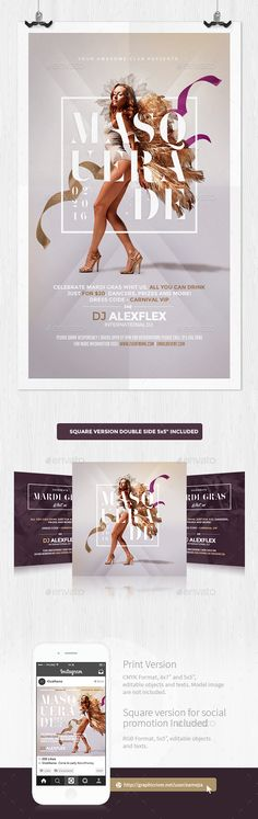 A modern, sexy and unique flyer, poster, invitation design for your next Mardi Gras /party / Costume Party. Can be used to promote Mardi Gras Carnival, Rio de Janeiro Samba Carnaval, Costume Party Etc. Easy to modify, change colors, dimensions, all text editable. Zip File Content1 PSD 4x7 inches CMYK 300dpi ready to print 1 PSD 5x5 inches CMYK 300