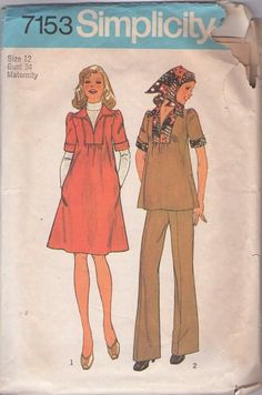 MOMSPatterns Vintage Sewing Patterns - Simplicity 7153 Vintage 70's Sewing Pattern COOL Hippie Maternity Inset Patchwork Yoke Collared Smock Top, Dress & Pants, Head Scarf
