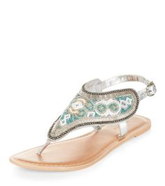 - Real leather- All over beaded detail- Buckle sling back fastening- Flat sole