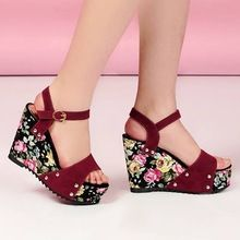 2014 new summer high quality fashion wedges women's sandals casual shoes lady drop ship ultra high heels pumps(China (Mainland))