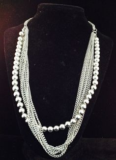 1950s Silver Tone Ball and Chain Necklace or Choker 8447