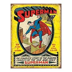 Superman No1 Cover Tin Sign 13 x 16in -- Click image for more details.
