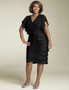 Adrianna Papell Flutter Sleeve Tiered Dress (Plus) at Nordstrom Mob Dresses, Tea Length Dresses, Plus Size Dresses, Short Sleeve Dresses, Bridesmaid Dresses, Bride Dresses, Dresses 2014, Dressy Dresses, Long Sleeve