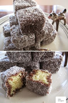 Yesterday I baked lamingtons for the very first time ever. Do you all know about these little coconut covered sponge cakes of heaven? They are super old fas Mini Desserts, Just Desserts, Delicious Desserts, Yummy Food, Baking Recipes, Cookie Recipes, Dessert Recipes, Mini Cakes, Cupcake Cakes