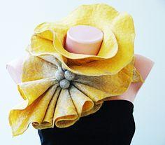 Felted Wool Scarf Neckpiece Collar. luxury  Blend. Shibori Yellow - Beige with Gold Tussar and White Eri silk fibers.Wrap wool scarf.