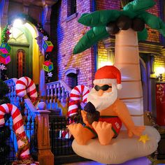 Inflatable Santa Claus Christmas Airblown Animated Xmas Outdoor Decoration Light for sale online Christmas Palm Tree, Tropical Christmas, Beach Christmas, Coastal Christmas, Christmas In July, Merry Christmas, Inflatable Christmas Decorations, Christmas Inflatables, Xmas Decorations
