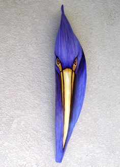 Purple Heron/Egret Tiki Mask on Queen Palm Seed Pod Frond by roseartworks on Etsy