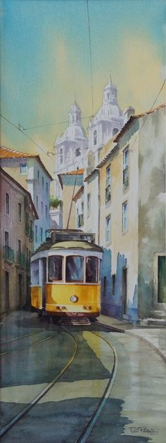 Electrico 28 - The electric 28, a symbol of the city of Lisbon, is the theme of this original watercolor