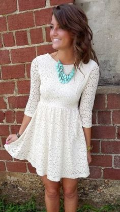 Simple and cute white mini lace dress