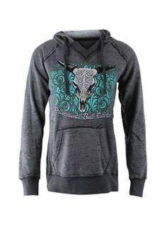 Ladies PBR Bull Skull Hooded Sweatshirt