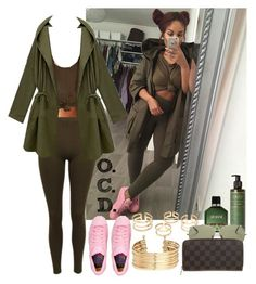"""Khaki x Pink."" by oreocaker ❤ liked on Polyvore featuring Wet Seal, adidas, H&M, Armani Beauty, Ray-Ban and Louis Vuitton"