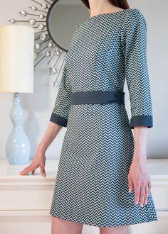 Coletterie Pattern Peony Dress, Chevron Blue fabric