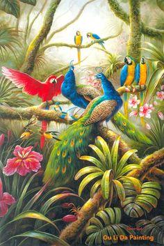 Oil on canvas Jungle Drawing, Jungle Art, Jungle Animals, Art Tropical, Jungle Illustration, Jungle Flowers, Haitian Art, Peacock Painting, Colorful Birds