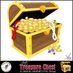 $4.95 INSTANT DOWNLOAD Pirate Treasure Chest Digital Clipart Graphics 12 files treasure diamond emerald ruby ring coins pearls