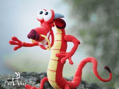 toy dragon handmade, disney Mulan, dragon puppet, crochet doll red dragon, soft toy for kids