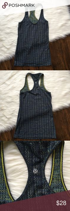 Lululemon Cool Racerback Heather Blue Tank Size 4 Lululemon Cool Racerback Tank. Heather blue with a yellow color patterned in. Missing tag but have picture of measurement and size chart. Size 4. Worn but in excellent condition! lululemon athletica Tops Tank Tops
