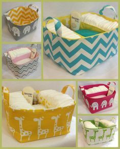baby diaper caddies to put shower gifts in that can be made to coordinate the nursery. Very useful and great presentation!