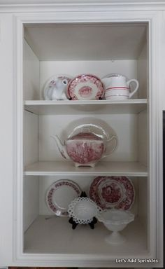 Red and White Dishes.