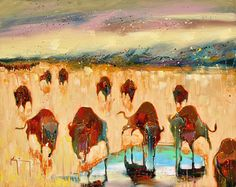 Finding Water #bison #southwest #art #oil #canyonroad