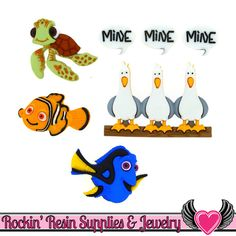 Disney Finding Nemo Buttons Jesse James Buttons Dress It Up Embellishment Novelty Button Collection [Licensed] Birthday Bulletin Boards, Disney Buttons, Jesse James, Finding Nemo, Dory, The Little Mermaid, Sewing Crafts, Embellishments, Whimsical