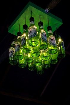 Creative decoration – transform what would go to waste into art! Bottle Art, Bottle Crafts, Beer Bottle Lights, Beer Crafts, Bottle Chandelier, Pub Design, Man Cave Bar, Bar Interior, Lokal