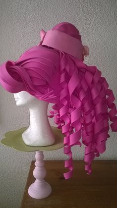 Pink Belle Foam wig made by Lady Mallemour for Charity Bigpinkdress https://www.justgiving.com/bigpinkdress2015/ https://www.facebook.com/Bigpinkdress2015?fref=ts