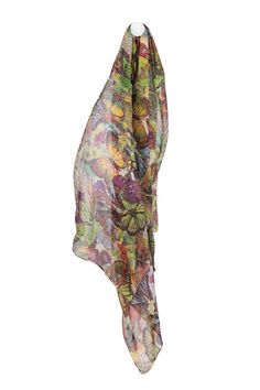 A bold butterfly print spun purely from featherweight silk. Embrace the warmer season with the flutter of butterflies. This piece is completed with a sewn hem. It features semi sheer silk-  Measurements:180 x70 cm  Butterfly Print Silk Scarf by NAMES Accessories. Accessories - Scarves & Wraps Canada