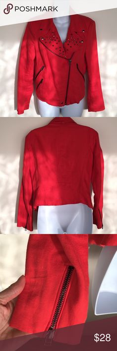 Zara Cotton Linen Moto Jacket Excellent condition bright red Zara cotton linen blend moto jacket.  Some variation in the fabric as is consistent with linen.  This jacket is fresh from the drycleaner.  Smoke free, pet free home Zara Jackets & Coats