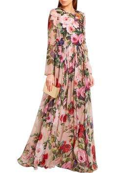 Shop on-sale Dolce & Gabbana Pussy-bow sequined printed silk-chiffon gown. Browse other discount designer Dresses & more on The Most Fashionable Fashion Outlet, THE OUTNET. Modest Fashion, Hijab Fashion, Fashion Dresses, Vestidos Adele, Moda Mania, Gowns With Sleeves, Chiffon Gown, Discount Designer Clothes, Designer Dresses