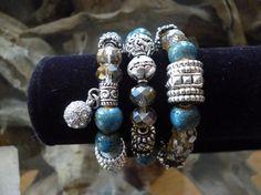 Triple Bead and Crystal Bracelet Set