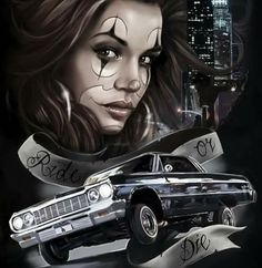 Ride till the wheels fall off Chicano Drawings, Chicano Tattoos, Chicano Art, 3d Tattoos, Time Tattoos, Tatoos, Lowrider Tattoo, Lowrider Art, Tattoo Chicana