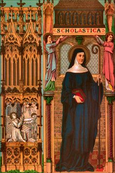 Happy Feast Day of St Scholastica - February 10 #pinterest The twins visited each other once a year in a farmhouse because Scholastica was not permitted inside the monastery. They spent these times discussing spiritual matters. According to the Dialogues of St. Gregory the Great, the brother and sister spent their last day together ..........| Awestruck Catholic Social Network