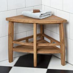 Teak Wood Corner Shower Seat