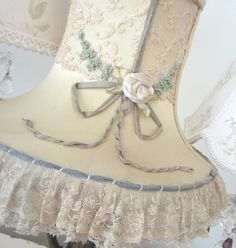 French silk lampshade with lace and ribbonwork
