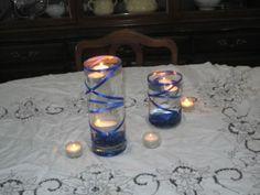 Centerpiece Mock Up!  FI thinks it needs flowers? :  wedding blue candles centerpiece diy no flowers reception silver vases white Bluecenterpiece2