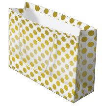 Gold Yellow Polka Dot Large Gift Bag  	$10.95 Playful yellow-gold dots tiled on every side. Shown with a whie background. Customization optional - Artwork and design by Karlajkitty