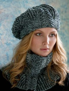 Sandra Cabled Cowl and Beret by S.Charles Collezione - this is one where the specific yarn really makes it special. Cowl designed by Irina Poludnenko, Beret designed by Teresa Chorzepa. Vogue Knitting, Loom Knitting, Knitting Patterns Free, Knit Patterns, Free Knitting, Free Pattern, Knitting Books, Knitting Needles, Knit Or Crochet