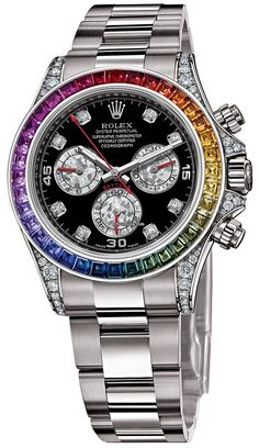 Rolex Cosmograph Daytona 40mm $34,500 40mm 18K white gold case set with 56 diamonds, fixed bezel set with 36 rainbow colored baguette sapphires.  Totally out of my price range but freaking gorgeous!!